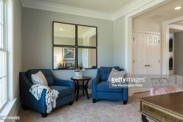 Sitting Area in the Third Floor Master Suite in the model at Saratoga Towns on May 9 2017 in Springfield Virginia