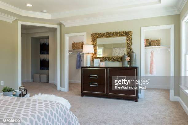 Walk in Closets in the Third Floor Master Suite in the model at Saratoga Towns on May 9 2017 in Springfield Virginia