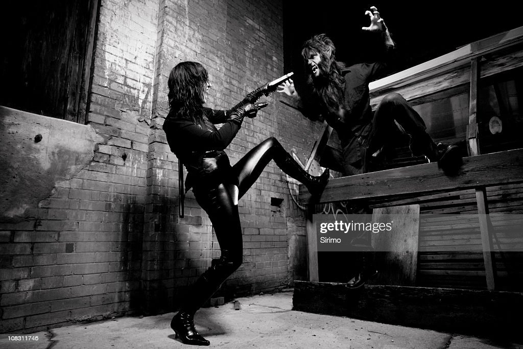 Vampire and Werewolf battle : Stock Photo