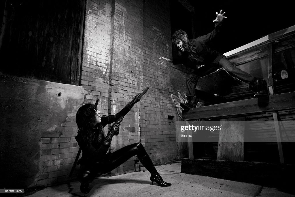 Vampire and Werewolf battle : Stock Photo