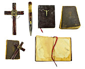 Halloween isolated collection of the wooden stake, the holy book, the cross and other magic objects of the vampire killer