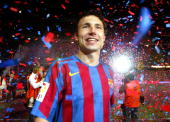 Van Bommel of FC Barcelona celebrating after a La Liga match between FC Barcelona and Espanyol at the Camp Nou stadium on May 6 2006 played in...
