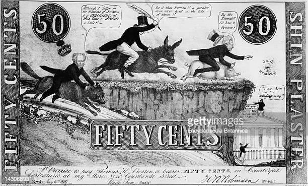Van Buren Jackson Monetary Programs 1837 Cartoon Mock Shinplaster Criticizing The Monetary Programs Of Presidents Van Buren And Jackson By HR...