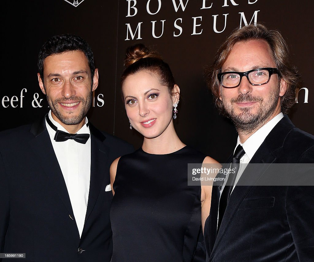 Van Cleef & Arpels CEO of the Americas Alain Bernard, actress <a gi-track='captionPersonalityLinkClicked' href=/galleries/search?phrase=Eva+Amurri&family=editorial&specificpeople=213733 ng-click='$event.stopPropagation()'>Eva Amurri</a> Martino and Nicolas Bos, Global CEO and Creative Director at Van Cleef & Arpels attend 'A Quest for Beauty: The Art of Van Cleef & Arpels' new exhibit opening night reception at The Bowers Museum on October 26, 2013 in Santa Ana, California.