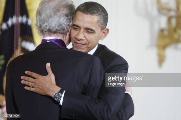 Van Cliburn and Barack Obama attend the 2010 National Medal of Arts and National Humanities Medal at White House on March 2 2011 in Washington DC
