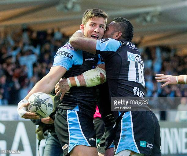 Van Der Merwe celebrates his try for Glasgow during the Pro12 Semi Final between Glasgow and Ulster at Scotstoun Stadium on May 22 2015 in Glasgow...