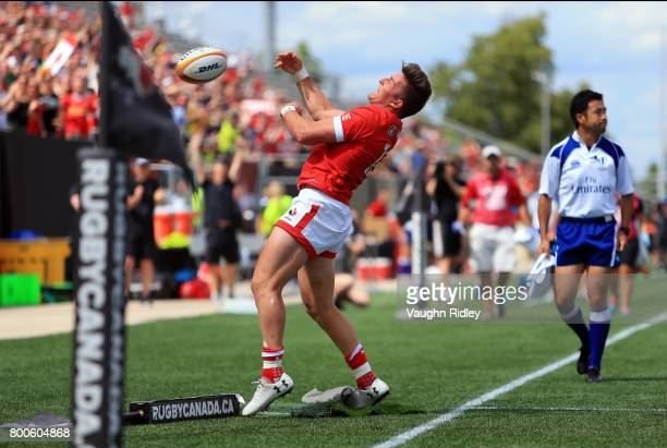 Van Der Merwe of Canada celebrates his second try in the first half of a Rugby World Cup 2019 Qualifier match against the USA at Tim Hortons Field on...