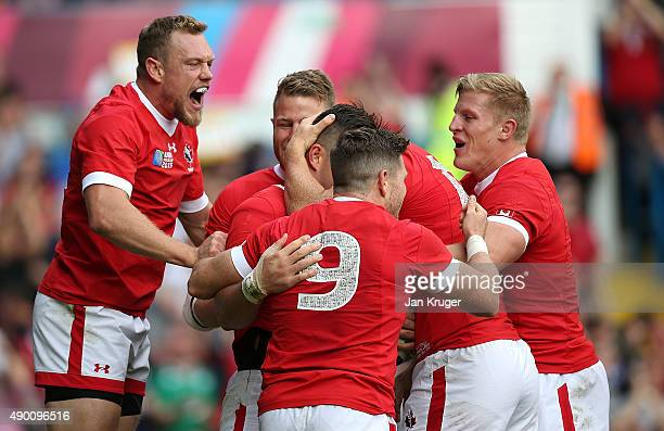 D T H van der Merwe of Canada celebrates his try with team mates during the 2015 Rugby World Cup Pool D match between Italy and Canada at Elland Road...