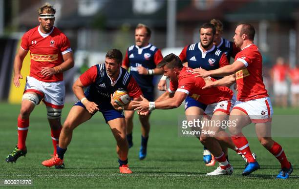 Van Der Merwe of Canada chases Bryce Campbell of the USA during the second half of a Rugby World Cup 2019 Qualifier match at Tim Hortons Field on...