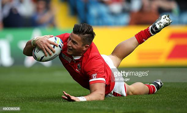 H van der Merwe of Canada goes over for the opening try during the 2015 Rugby World Cup Pool D match between Italy and Canada at Elland Road on...