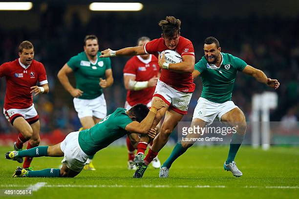 Van Der Merwe of Canada is tackled by Conor Murray of Ireland during the 2015 Rugby World Cup Pool D match between Ireland and Canada at the...
