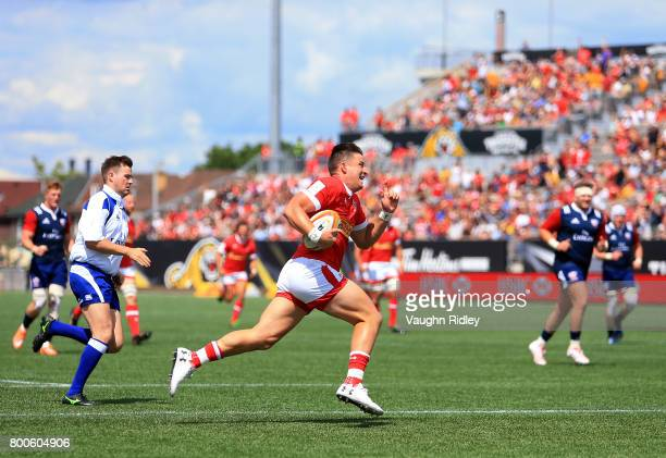 Van Der Merwe of Canada runs in a try in the first half of a Rugby World Cup 2019 Qualifier match against the USA at Tim Hortons Field on June 24...