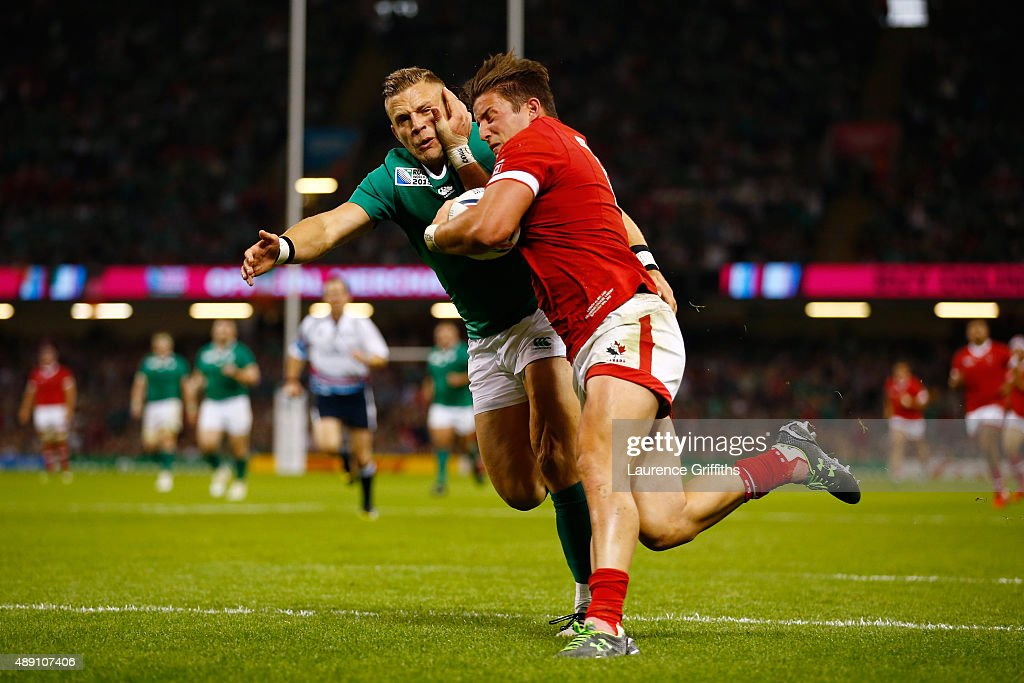 Van Der Merwe of Canada scores his team's try during the 2015 Rugby World Cup Pool D match between Ireland and Canada at the Millennium Stadium on September 19, 2015 in Cardiff, United Kingdom.