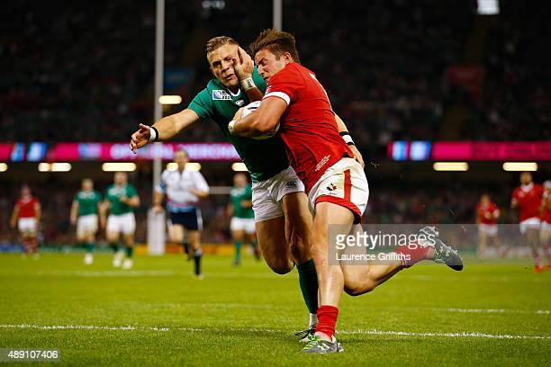 Van Der Merwe of Canada scores his team's try during the 2015 Rugby World Cup Pool D match between Ireland and Canada at the Millennium Stadium on...