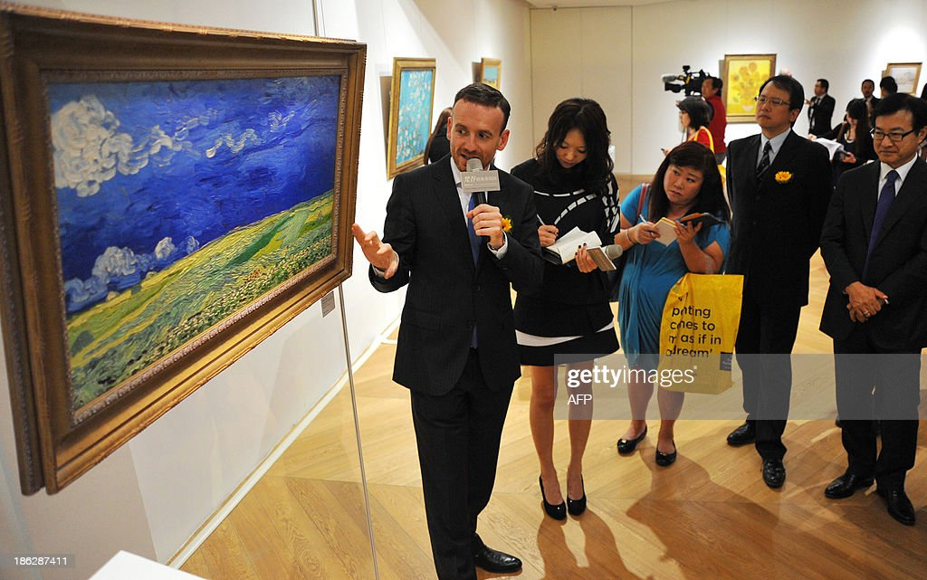 Van Gogh Museum curator Axel Rüger introduces the relievo collection 'Wheatfield under Thunderclouds' by Van Gogh Museum during a opening press...