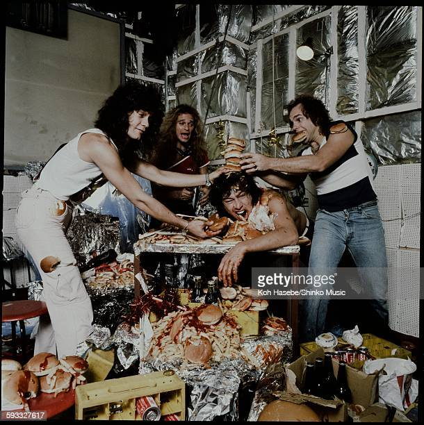 Van Halen having a crazy party eating hamburgers and potatoes Tokyo September 1979