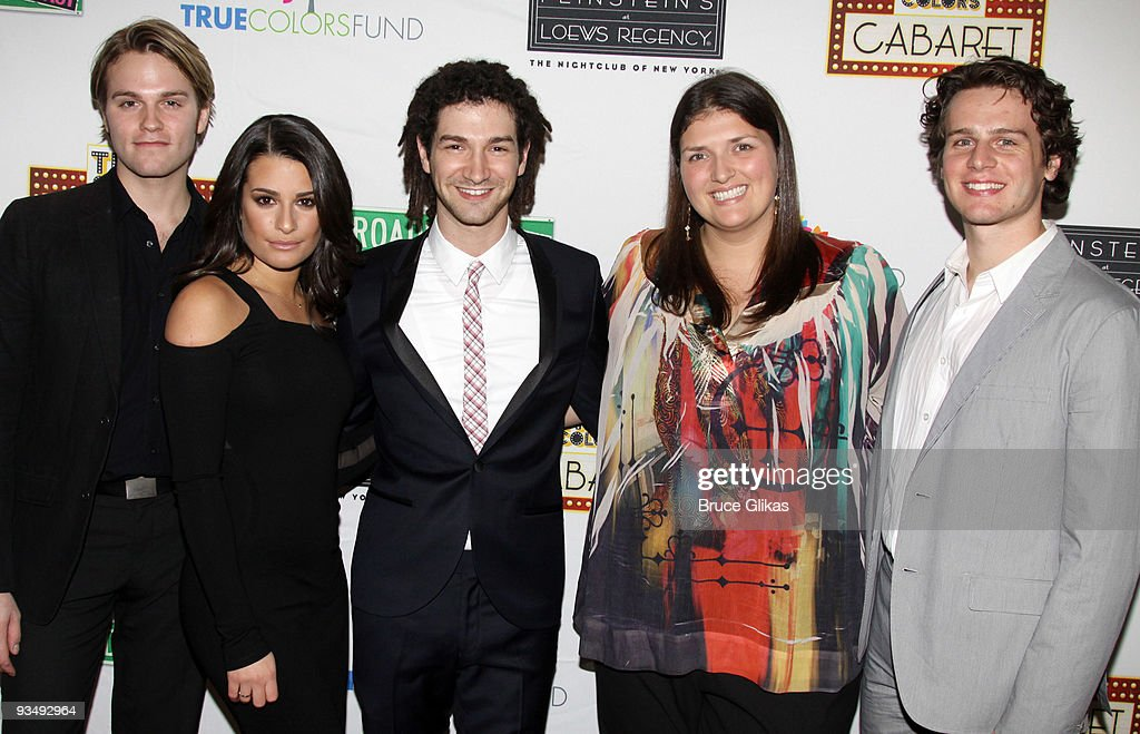 Van Hansis, Lea Michele, Adam Wachter, Jenny Kanelos and Jonathan Groff pose at the 'True Colors Cabaret' presented by True Colors Tour, Broadway Impact and True Colors Fund at Feinstein's at the Regency on November 29, 2009 in New York City.