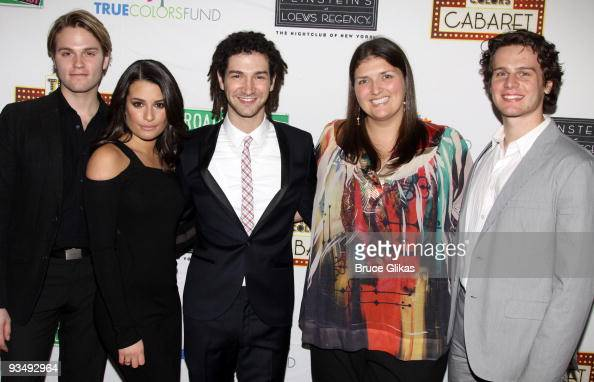 Van Hansis Lea Michele Adam Wachter Jenny Kanelos and Jonathan Groff pose at the 'True Colors Cabaret' presented by True Colors Tour Broadway Impact...