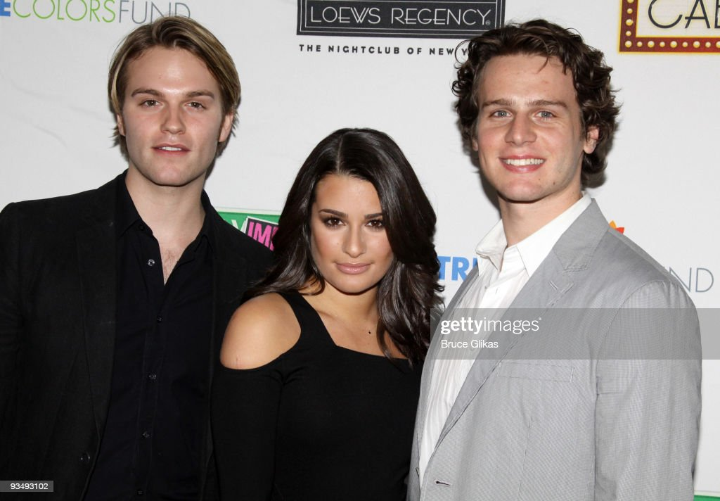 Van Hansis, Lea Michele and Jonathan Groff pose at the 'True Colors Cabaret' presented by True Colors Tour, Broadway Impact and True Colors Fund at Feinstein's at the Regency on November 29, 2009 in New York City.