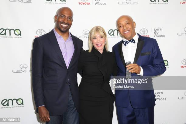 Van Jones EMA president Debbie Levin and Russell Simmons pose backstage at the Environmental Media Association's 27th Annual EMA Awards at Barkar...