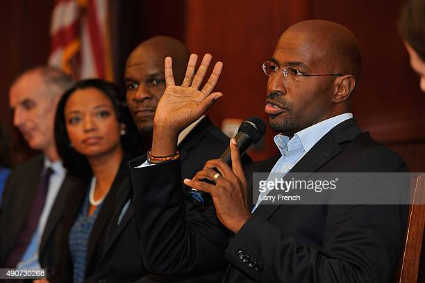 Van Jones of #cut50 discusses juvenile justice and Fusion's forthcoming documentary 'Prison Kids' at the Capitol Visitor's Center on September 30...