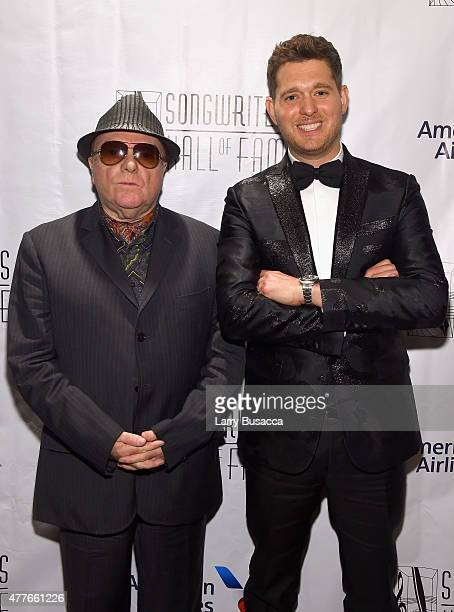 Van Morrison and Michael Buble attend Songwriters Hall Of Fame 46th Annual Induction And Awards at Marriott Marquis Hotel on June 18 2015 in New York...