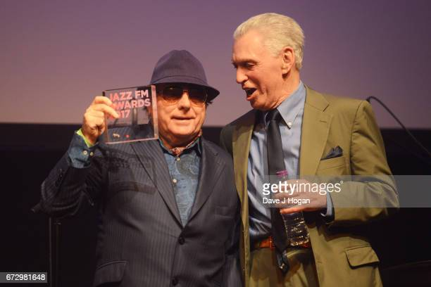 Van Morrison presents the PPL Lifetime Achievement Award to Georgie Fame at the Jazz FM Awards 2017 at Shoreditch Town Hall on April 25 2017 in...