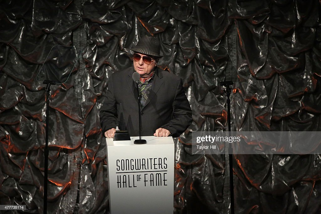 Van Morrison speaks during the Songwriters Hall Of Fame 46th Annual Induction And Awards at Marriott Marquis Hotel on June 18 2015 in New York City