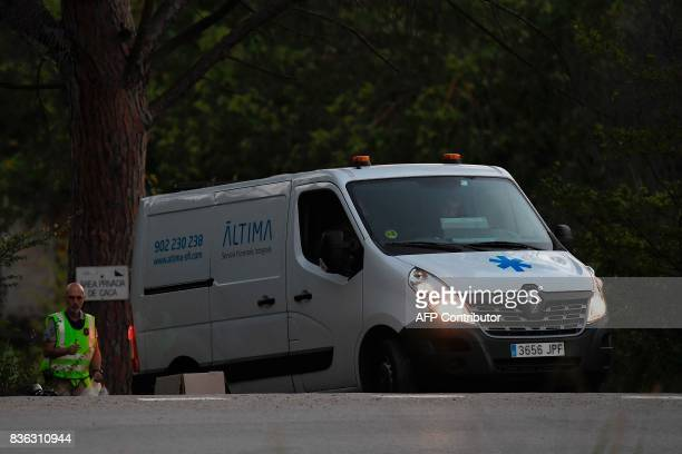 A van of the funeral services carrying the body of Moroccan suspect Younes Abouyaaqoub on the site where he was shot on August 21 2017 near Sant...