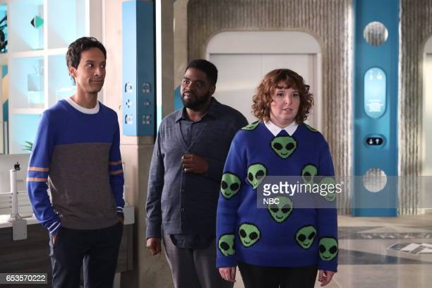 POWERLESS 'Van Of The Year' Episode 104 Pictured Danny Pudi as Teddy Ron Funches as Ron Jennie Pierson as Wendy