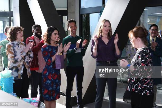POWERLESS 'Van Of The Year' Episode 104 Pictured Jennie Pierson as Wendy Ron Funches as Ron Vanessa Hudgens as Emily Danny Pudi as Teddy Christina...