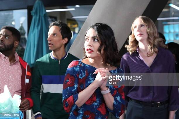 POWERLESS 'Van Of The Year' Episode 104 Pictured Ron Funches as Ron Vanessa Hudgens as Emily Danny Pudi as Teddy Christina Kirk as Jackie