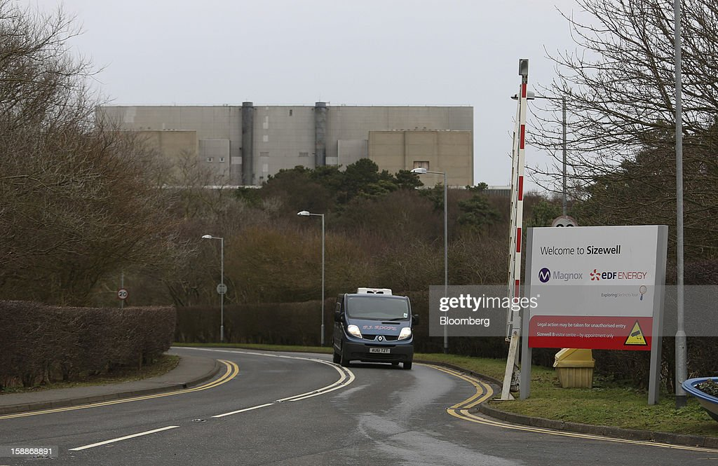 A van passes a sign at the entrance to the Sizewell nuclear power station, operated by Electricite de France SA (EDF), in Sizewell, U.K., on Wednesday, Jan. 2, 2013. EDF operates eight U.K. atomic power stations and has proposed to add Areva reactors at its Hinkley Point and Sizewell sites. Photographer: Chris Ratcliffe/Bloomberg via Getty Images