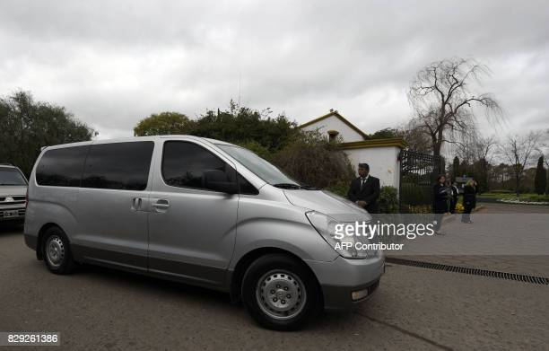 A van transporting the Netherlands' royal family arrives at the Memorial park on August 10 2017 in Pilar Buenos Aires outskirts where Jorge...
