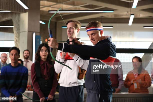 POWERLESS 'Van V Emily Dawn Of Justice' Episode 110 Pictured Danny Pudi as Teddy Vanessa Hudgens as Emily Josh Breeding as Steve Alan Tudyk as Van