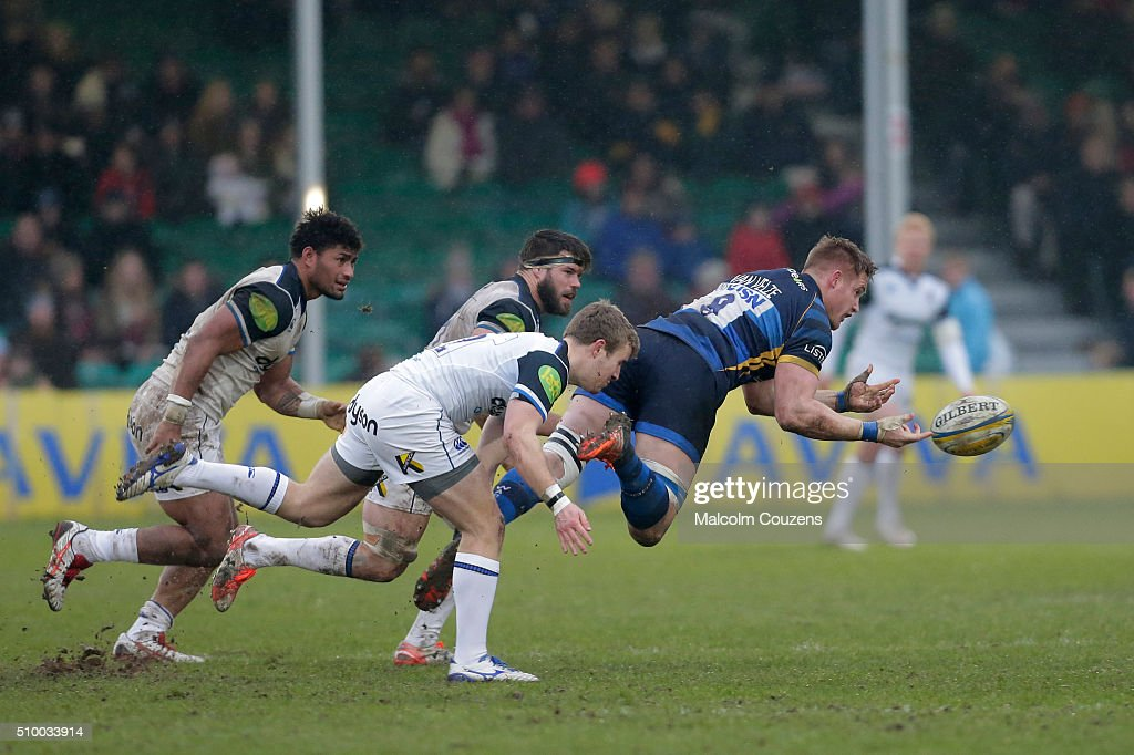 GJ Van Velze of Worcester Warriors gets a pass away during the Aviva Premiership match between Worcester Warriors and Bath Rugby at Sixways Stadium on February 13,, in Worcester, England
