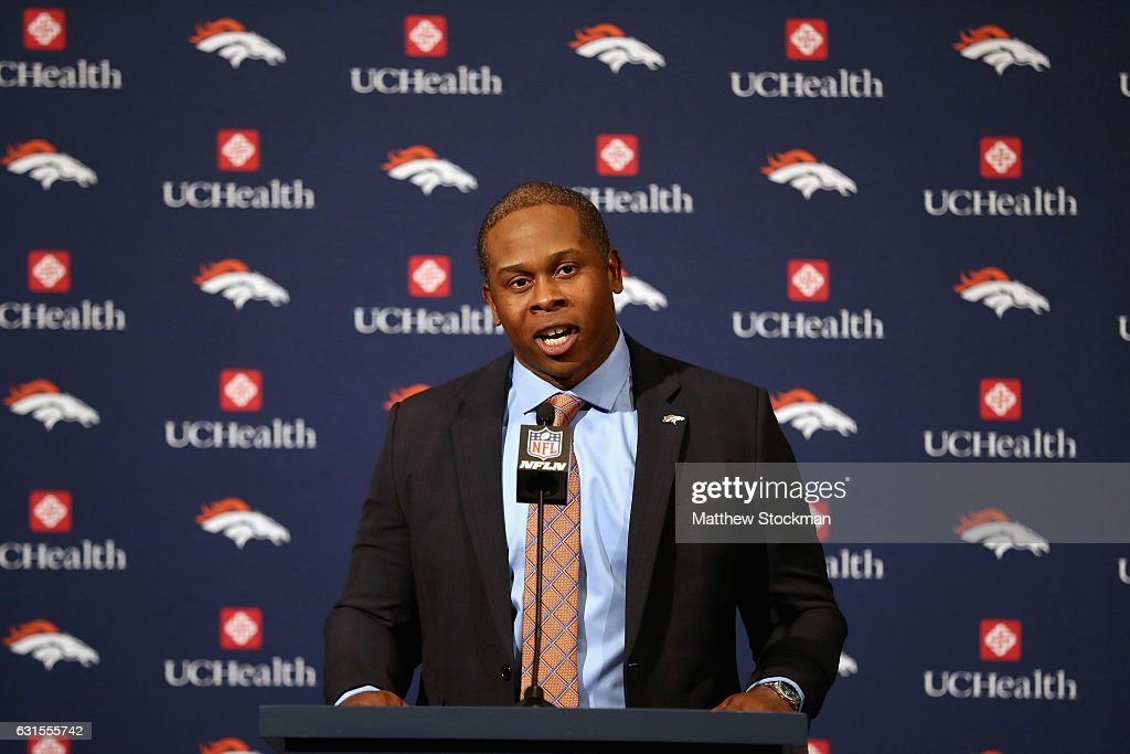Vance Josepf addresses the media after being introduced as the Denver Broncos new head coach during a press conference at the Paul D. Bowlen Memorial Broncos Centre on January 12, 2017 in Englewood, Colorado.