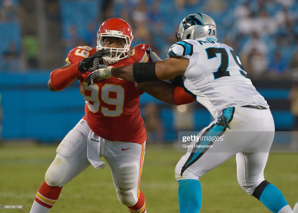Vance Walker #99 of the Kansas City Chiefs against the Carolina Panthers during their game at Bank of America Stadium on August 17, 2014 in Charlotte, North Carolina. Carolina won 28-16.