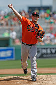 Vance Worley of the Baltimore Orioles throws the ball against the Boston Red Sox during a spring training game at JetBlue Park on March 17 2016 in...