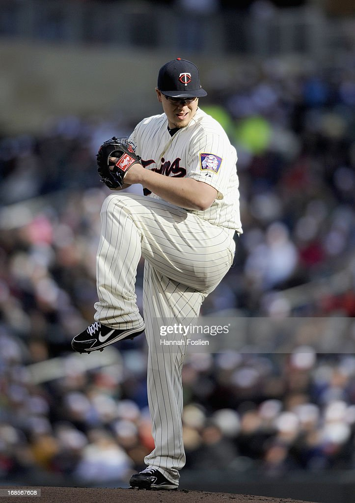 <a gi-track='captionPersonalityLinkClicked' href=/galleries/search?phrase=Vance+Worley&family=editorial&specificpeople=7115988 ng-click='$event.stopPropagation()'>Vance Worley</a> #49 of the Minnesota Twins delivers a pitch against the Baltimore Orioles during the first inning of the game on May 11, 2013 at Target Field in Minneapolis, Minnesota.