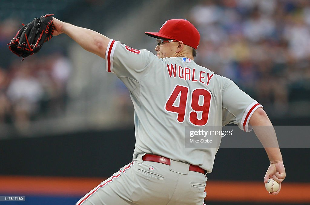 <a gi-track='captionPersonalityLinkClicked' href=/galleries/search?phrase=Vance+Worley&family=editorial&specificpeople=7115988 ng-click='$event.stopPropagation()'>Vance Worley</a> #49 of the Philadelphia Phillies delivers a pitch in the first inning against the New York Mets at Citi Field on July 3, 2012 in the Flushing neighborhood of the Queens borough of New York City.