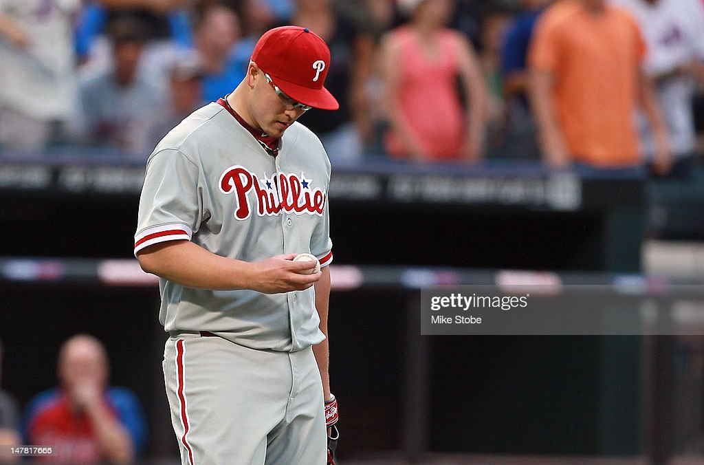 <a gi-track='captionPersonalityLinkClicked' href=/galleries/search?phrase=Vance+Worley&family=editorial&specificpeople=7115988 ng-click='$event.stopPropagation()'>Vance Worley</a> #49 of the Philadelphia Phillies reacts during the second inning against the New York Mets at Citi Field on July 3, 2012 in the Flushing neighborhood of the Queens borough of New York City.