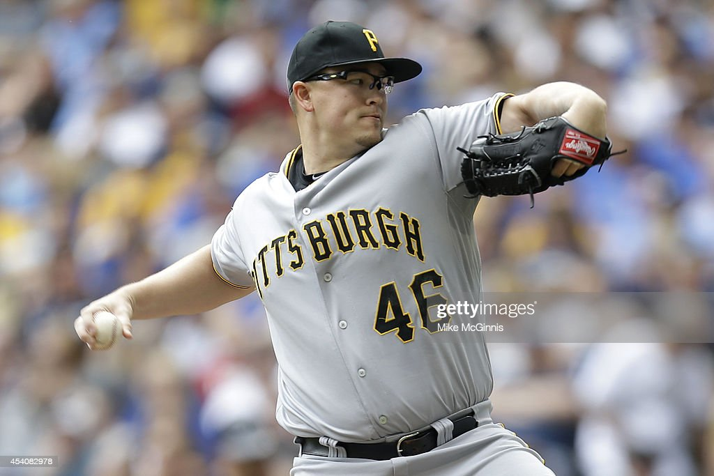Vance Worley #46 of the Pittsburgh Pirates pitches during the first inning against the Milwaukee Brewers at Miller Park on August 24, 2014 in Milwaukee, Wisconsin.