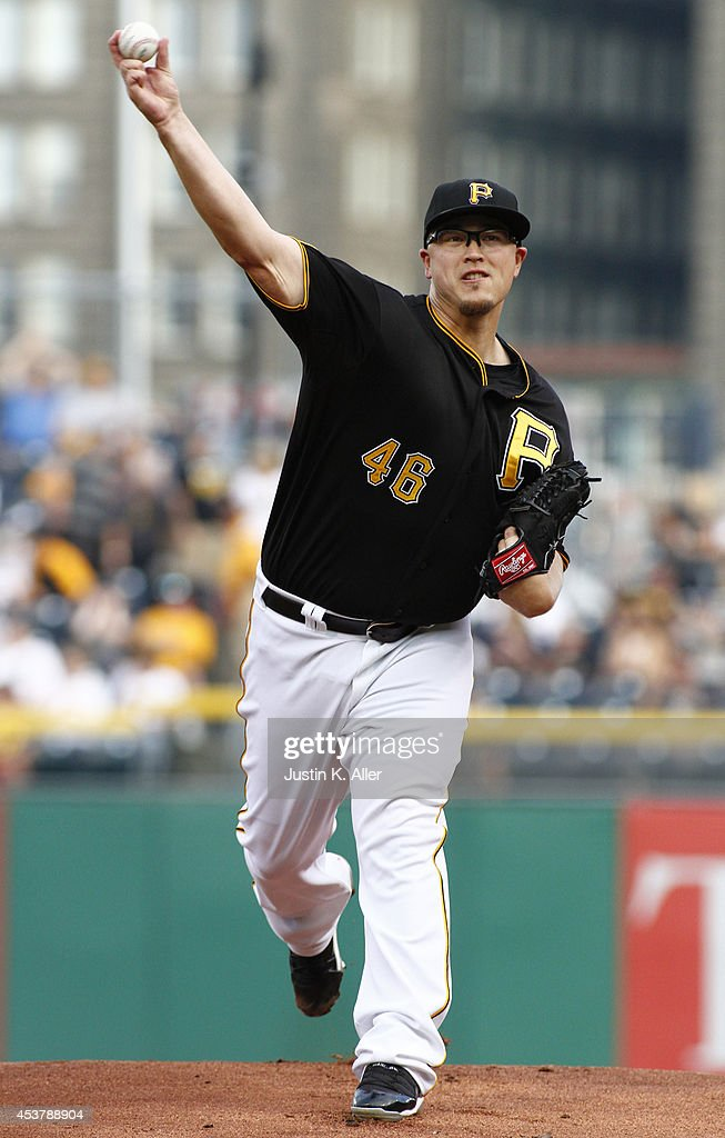 <a gi-track='captionPersonalityLinkClicked' href=/galleries/search?phrase=Vance+Worley&family=editorial&specificpeople=7115988 ng-click='$event.stopPropagation()'>Vance Worley</a> #46 of the Pittsburgh Pirates pitches in the first inning against the Atlanta Braves during the game at PNC Park on August 18, 2014 in Pittsburgh, Pennsylvania.