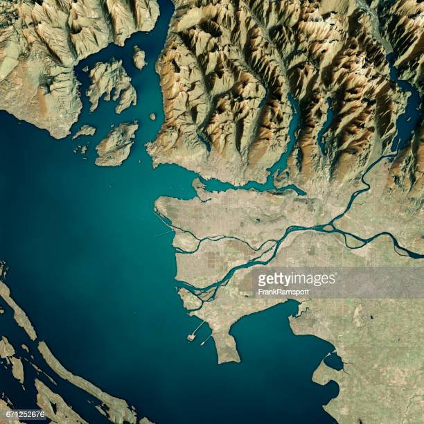 Vancouver 3D Render Satellite View Topographic Map