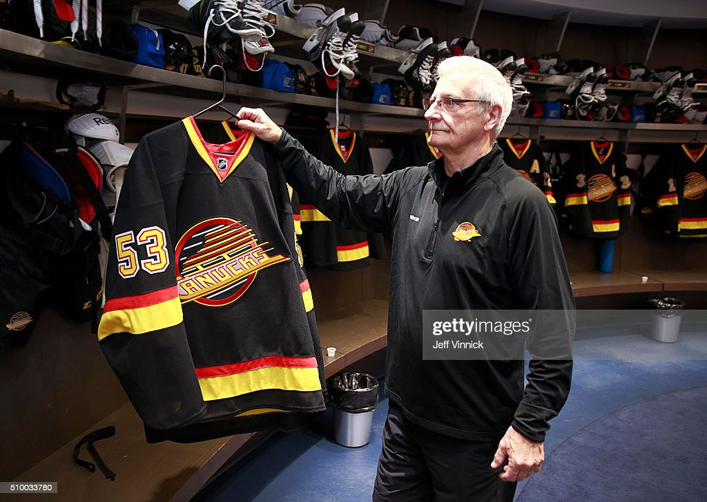 Vancouver Canuck trainer Ron Shute hangs the retro jersey of Bo Horvat #53 in the Canucks dressing room before their NHL game against the Toronto Maple Leafs at Rogers Arena February 13, 2016 in Vancouver, British Columbia, Canada.