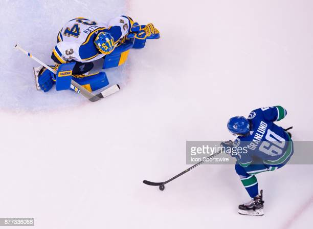 Vancouver Canucks Center Markus Granlund prepares to shoot on St Louis Blues Goalie Jake Allen during their NHL game at Rogers Arena on November 18...