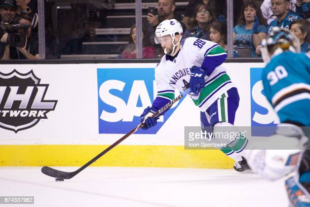 Vancouver Canucks center Sam Gagner looks for a pass during the NHL game between the San Jose Sharks and the Vancouver Canucks on November 11 at the...
