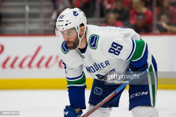 Vancouver Canucks center Sam Gagner looks on during a regular season NHL hockey game between the Vancouver Canucks and the Detroit Red Wings on...