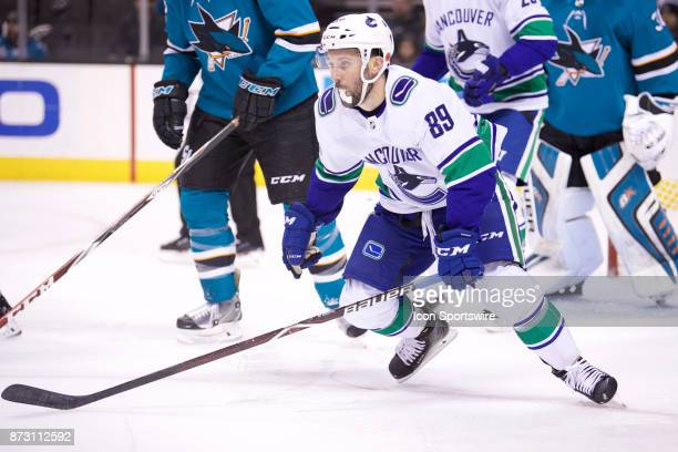 Vancouver Canucks center Sam Gagner repositions during the NHL game between the San Jose Sharks and the Vancouver Canucks on November 11 at the SAP...